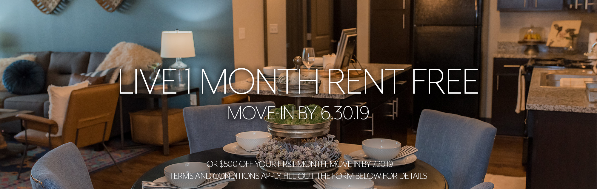 Live One Month Rent Free Special Banner