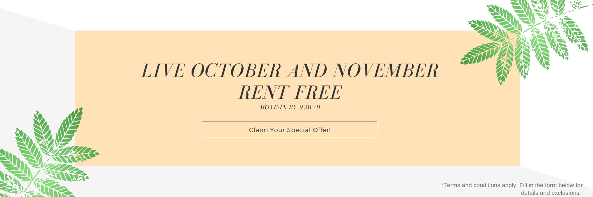 Oct and Nov Rent Free Special