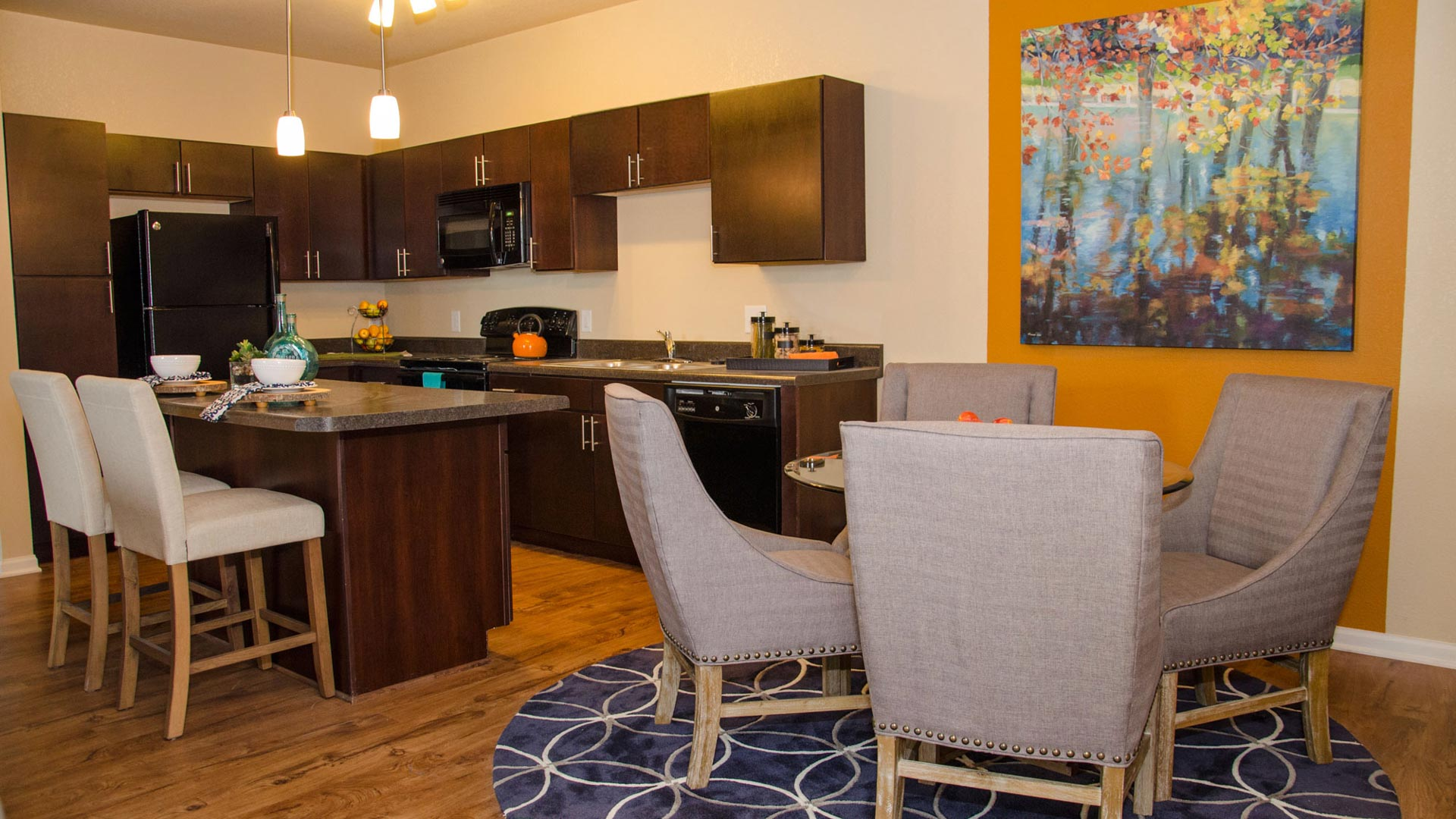 Springs at Bettendorf Apartments in Quad Cities Kitchen and Accent Wall