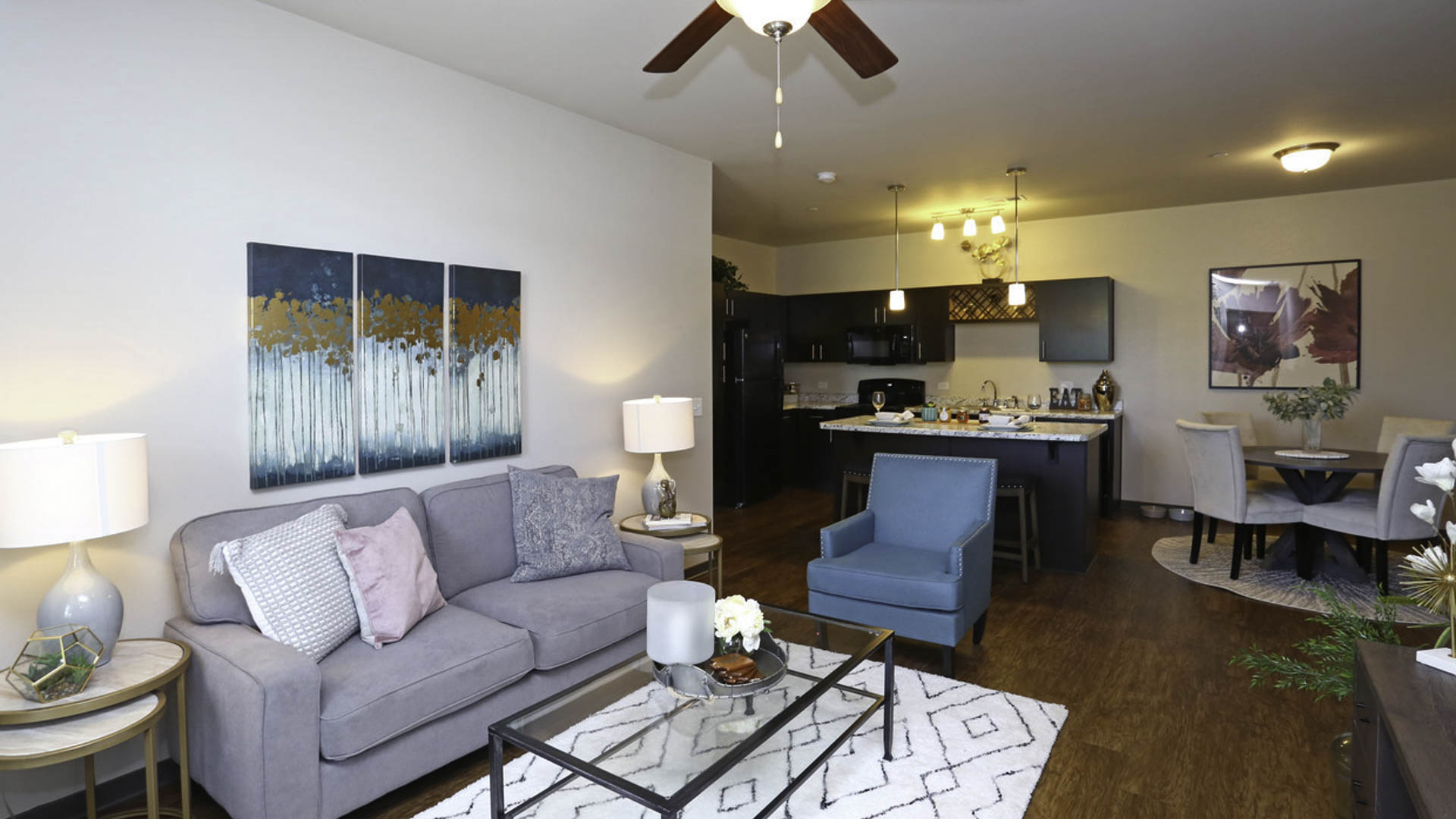 Springs at Canterfield living room and kitchen  in West Dundee, IL