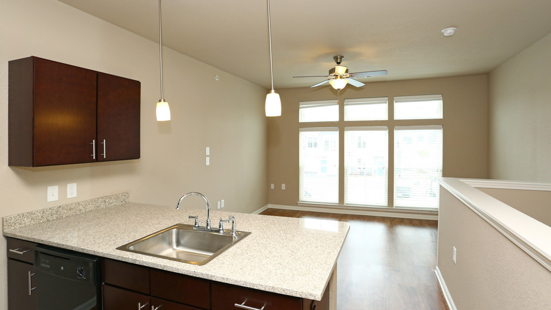 Studio Living Room with Large Windows in North Aurora at Springs at Orchard Road Apartments-29