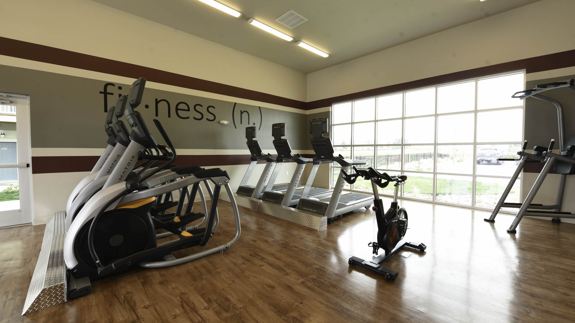 Springs at Sandstone Ranch fitness center with outdoor access