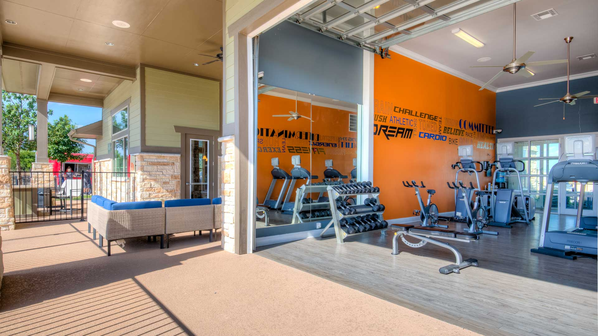 Gym with Garage opening in San Antonio at Springs at Alamo Ranch-47