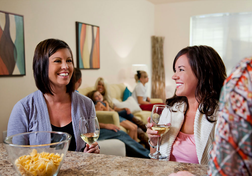 Friends Drinking Wine in Rochester, MN