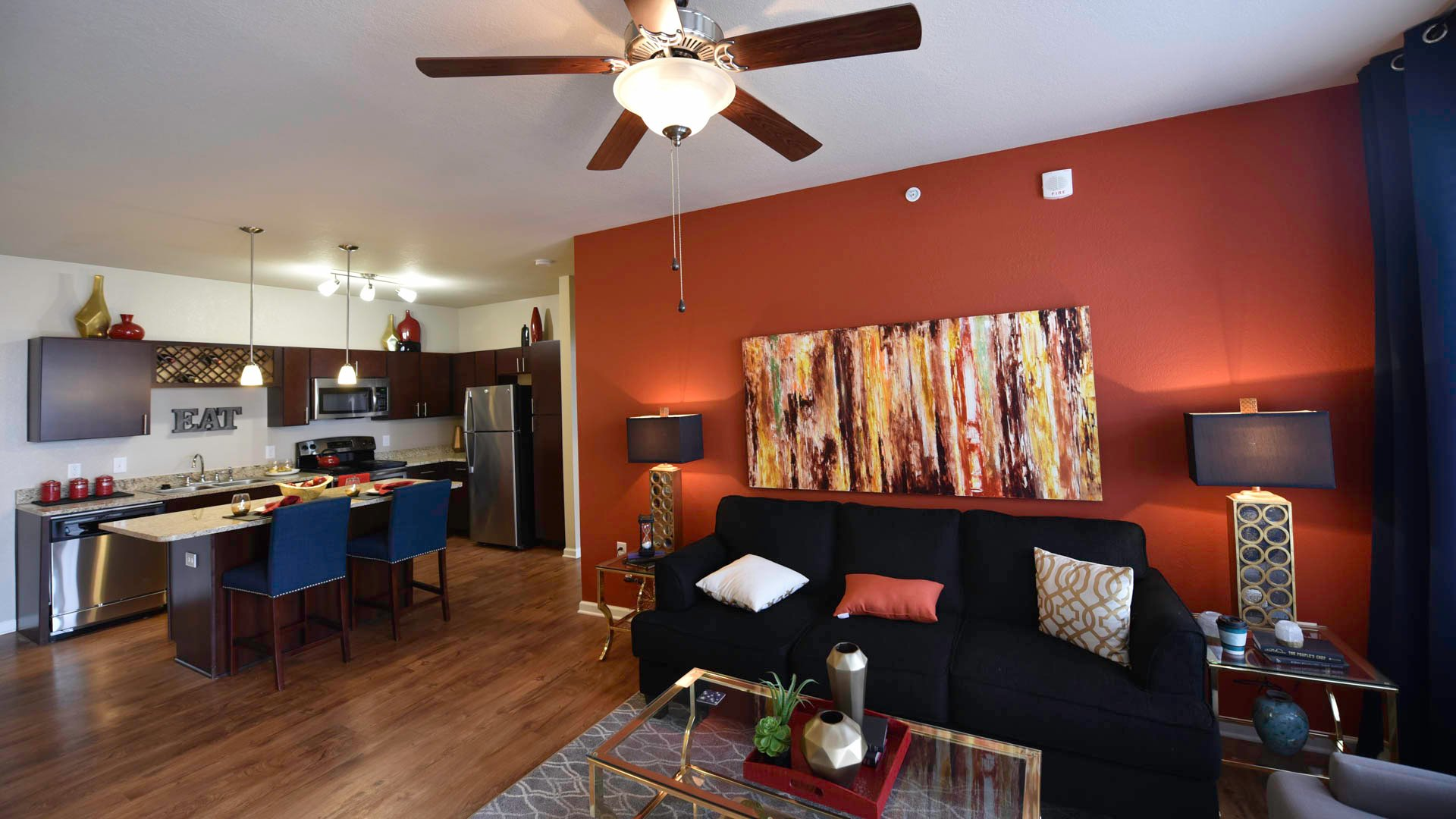 Springs at Liberty Township open concept living room and kitchen