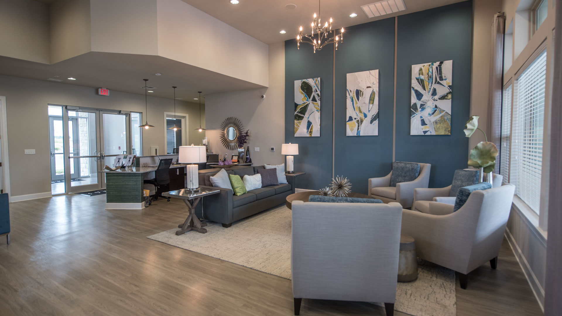 Clubhouse seating area at Springs at Kenosha apartments in Kenosha W