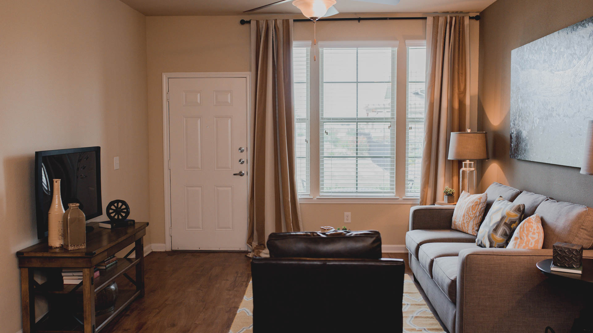 Apartment living room at Springs at Creekside in New Braunfels, TX-34