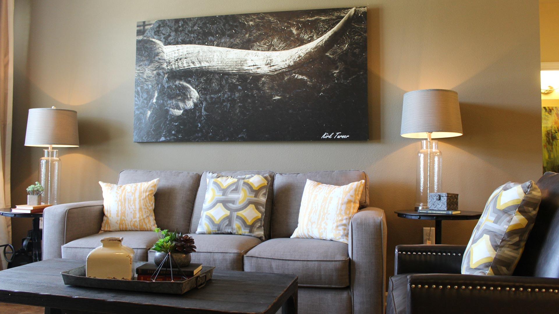 Apartment Living Room decorated at Springs at Creekside in New Braunfels-38