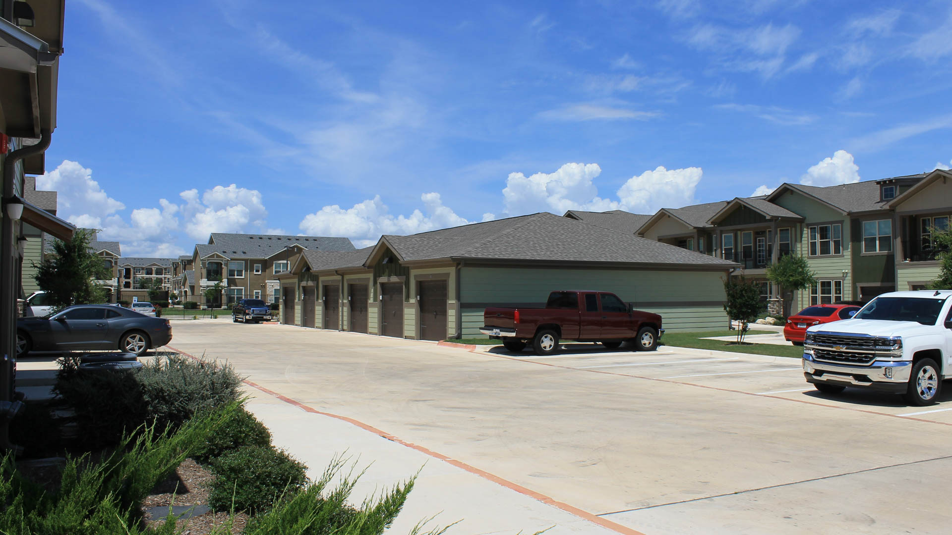 Detached garages at Springs at Creekside in New Braunfels