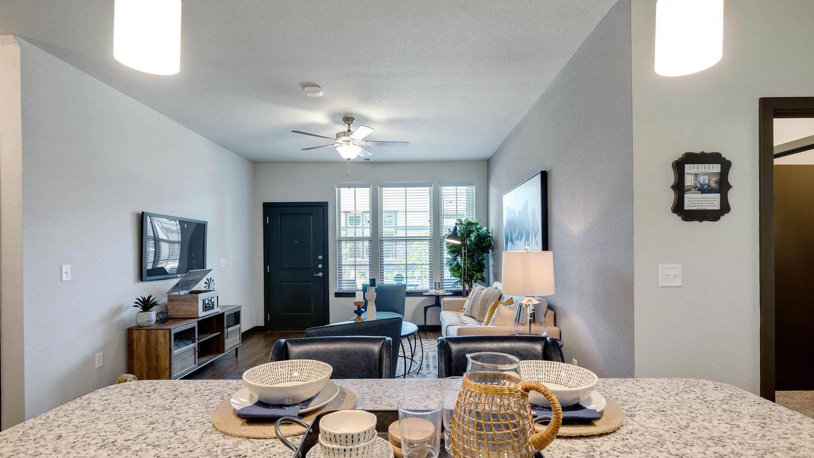 Kitchen and living room in Rosenberg, TX
