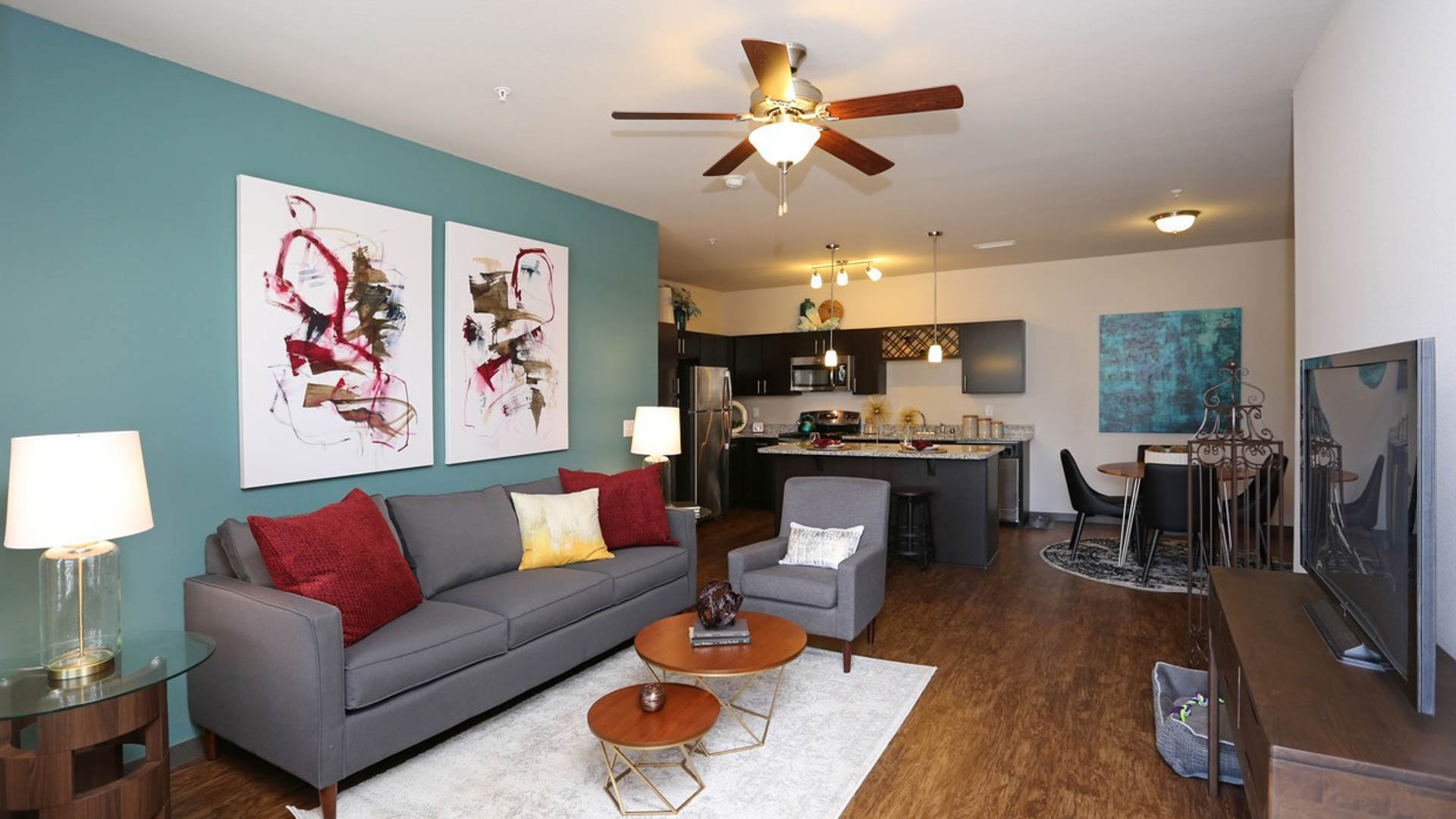 Living Room at Springs at Sun Prairie Apartments in Sun Prairie