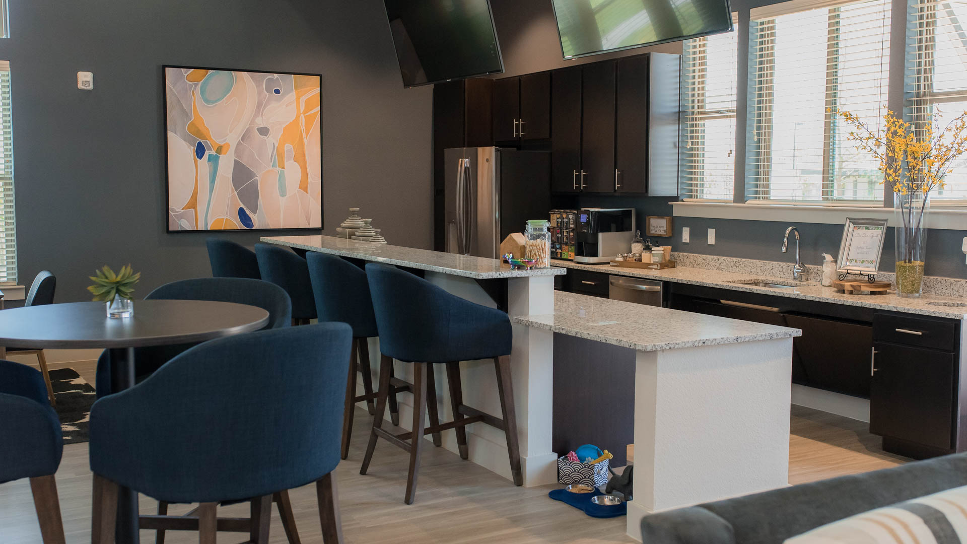 Kitchenette in the Clubhouse Springs at Sunfiled Apartments In Buda