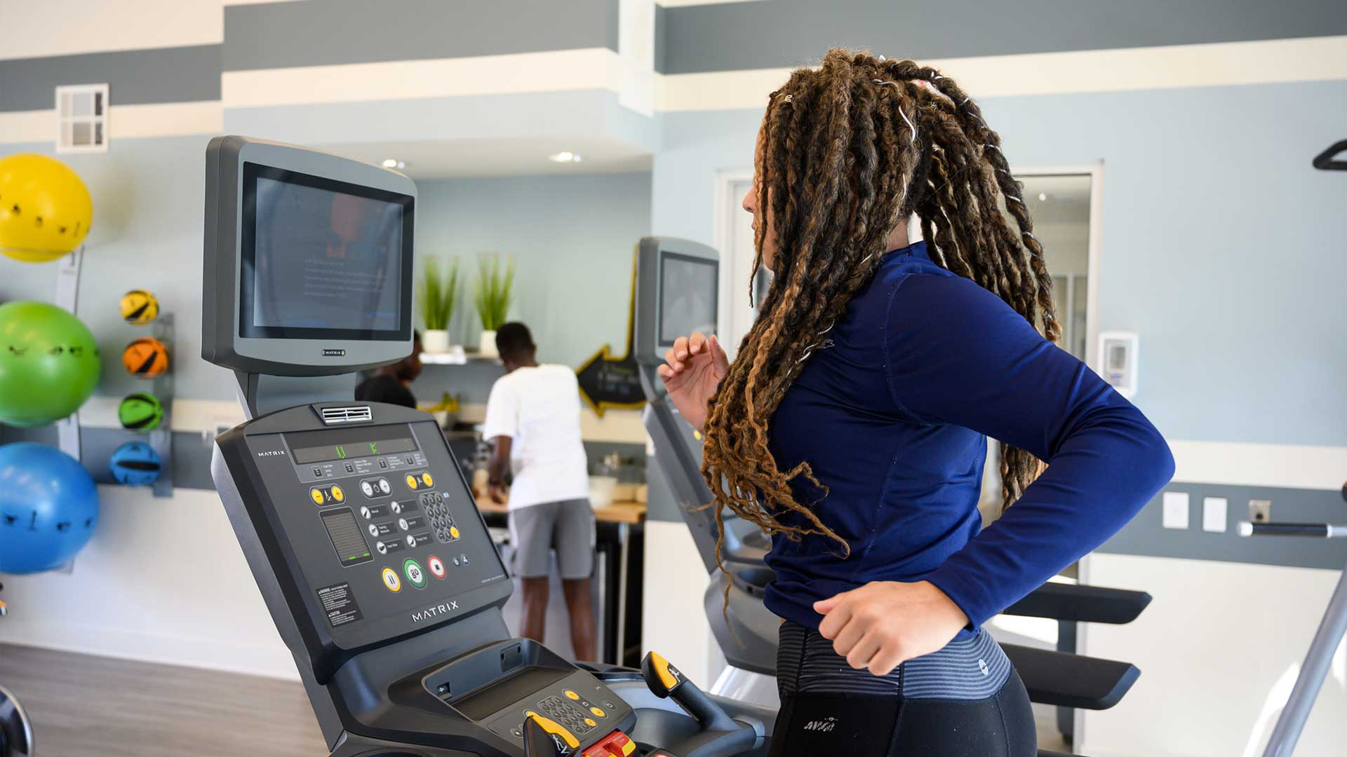 Fitness center treadmills
