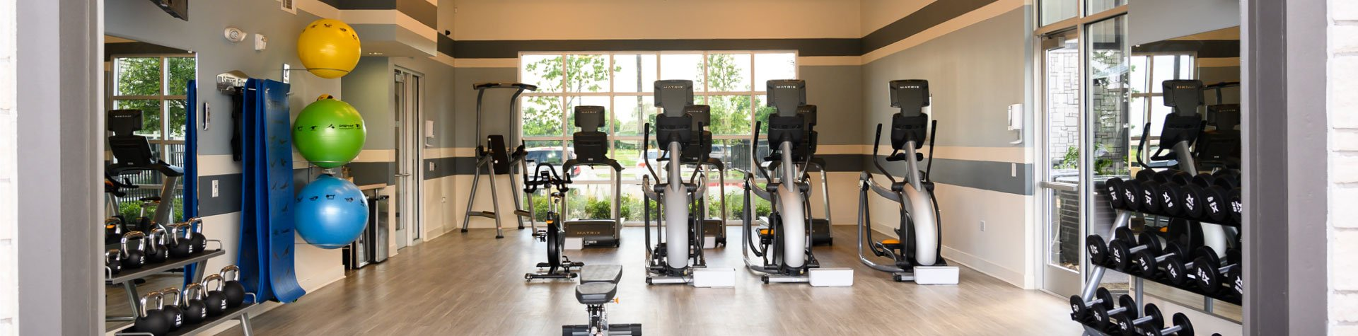 Gym with Cardio Equipment at Springs at South Elgin Apartments